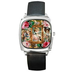 Victorian Collage Of Woman Square Metal Watch