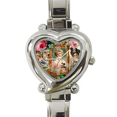 Victorian Collage Of Woman Heart Italian Charm Watch