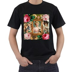 Victorian Collage Of Woman Men s T Shirt (black) (two Sided)
