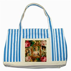 Victorian Collage Of Woman Striped Blue Tote Bag