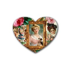 Victorian Collage Of Woman Rubber Coaster (heart)
