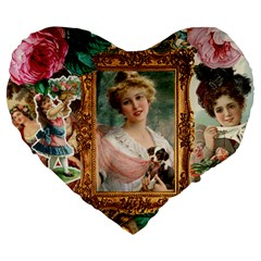 Victorian Collage Of Woman Large 19  Premium Heart Shape Cushions