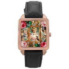 Victorian Collage Of Woman Rose Gold Leather Watch