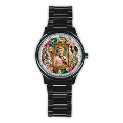 Victorian Collage Of Woman Stainless Steel Round Watch