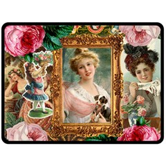 Victorian Collage Of Woman Double Sided Fleece Blanket (large)