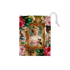 Victorian Collage Of Woman Drawstring Pouches (small)