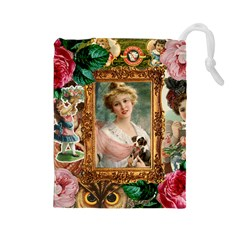 Victorian Collage Of Woman Drawstring Pouches (large)