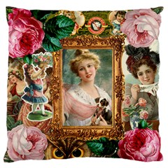 Victorian Collage Of Woman Large Flano Cushion Case (one Side)