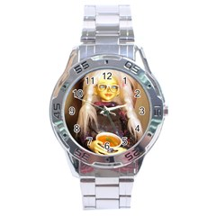 Eating Lunch Stainless Steel Analogue Watch