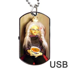 Eating Lunch Dog Tag Usb Flash (one Side)