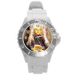 Eating Lunch Round Plastic Sport Watch (l)