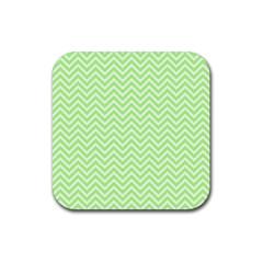 Green Chevron Rubber Square Coaster (4 Pack)