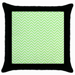 Green Chevron Throw Pillow Case (black)