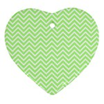 Green Chevron Heart Ornament (Two Sides) Back