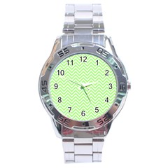 Green Chevron Stainless Steel Analogue Watch