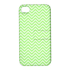 Green Chevron Apple Iphone 4/4s Hardshell Case With Stand