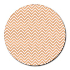 Orange Chevron Round Mousepads