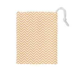Orange Chevron Drawstring Pouches (large)