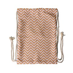 Orange Chevron Drawstring Bag (small)