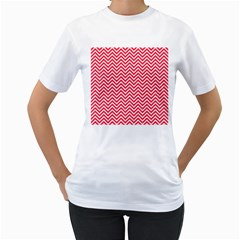 Red Chevron Women s T Shirt (white) (two Sided)