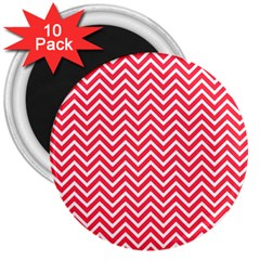 Red Chevron 3  Magnets (10 Pack)