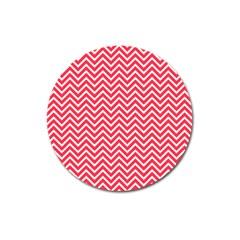 Red Chevron Magnet 3  (round)