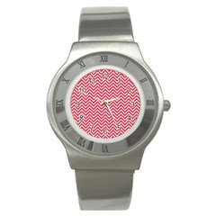Red Chevron Stainless Steel Watch