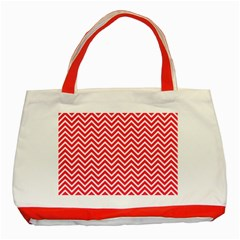 Red Chevron Classic Tote Bag (red)