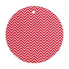 Red Chevron Round Ornament (two Sides)