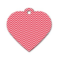 Red Chevron Dog Tag Heart (one Side)