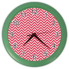 Red Chevron Color Wall Clocks