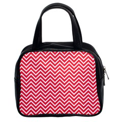 Red Chevron Classic Handbags (2 Sides)