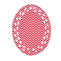 Red Chevron Oval Filigree Ornament (two Sides)