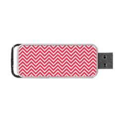 Red Chevron Portable Usb Flash (one Side)