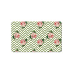 Green Chevron Rose Magnet (name Card)