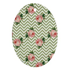 Green Chevron Rose Oval Ornament (two Sides)