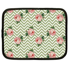 Green Chevron Rose Netbook Case (large)
