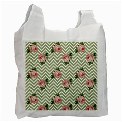 Green Chevron Rose Recycle Bag (one Side)