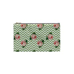 Green Chevron Rose Cosmetic Bag (small)