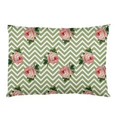Green Chevron Rose Pillow Case (two Sides)