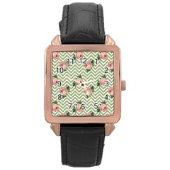Green Chevron Rose Rose Gold Leather Watch
