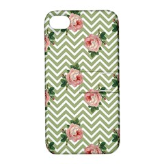 Green Chevron Rose Apple Iphone 4/4s Hardshell Case With Stand
