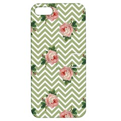 Green Chevron Rose Apple Iphone 5 Hardshell Case With Stand