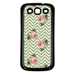 Green Chevron Rose Samsung Galaxy S3 Back Case (black)