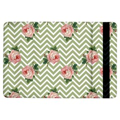 Green Chevron Rose Ipad Air Flip