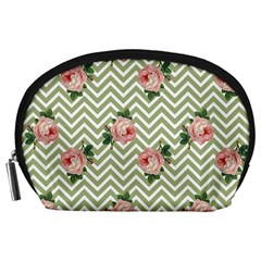 Green Chevron Rose Accessory Pouches (large)