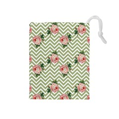 Green Chevron Rose Drawstring Pouches (medium)