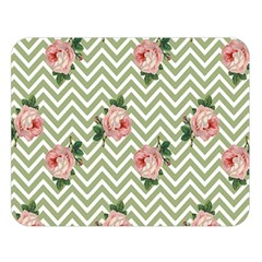 Green Chevron Rose Double Sided Flano Blanket (large)