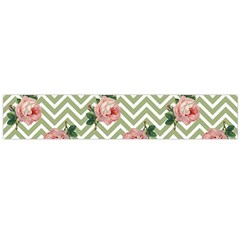 Green Chevron Rose Large Flano Scarf