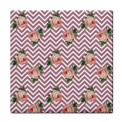 Violet Chevron Rose Tile Coasters